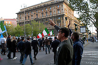 Rome  April 28, 2008 .Supporters of right-wing Rome mayoral candidate Gianni Alemanno celebrates victory in Rome whit the fascistic salute