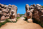 Photo of the Hittite releif sculpture on the Lion gate to the Hittite capital Hattusa 8