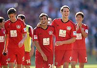 Fussball  1. Bundesliga  Saison 2013/2014  2. Spieltag VfB Stuttgart - Bayer Leverkusen     17.08.2013 JUBEL Bayer; Philipp Wollscheid (re) umarmt Giulio Donati (Mitte)