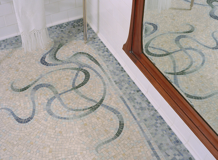 Custom Art Nouveau bath floor in Travertine White, Kay's Green, Ming Green, Blue Macauba, Celeste
