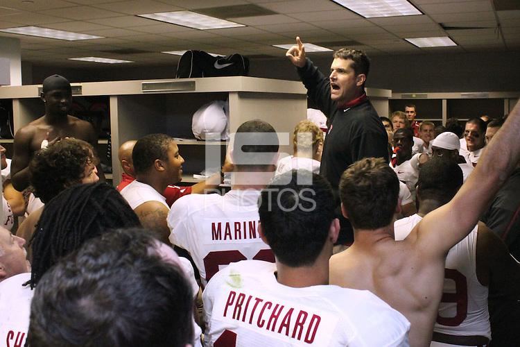 LOS ANGELES, CA - NOVEMBER 14:  Jim Harbaugh of the Stanford Cardinal in the locker room after Stanford's 55-21 win over the USC Trojans on November 14, 2009 at the Los Angeles Coliseum Stadium in Los Angeles, California.
