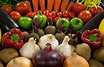 Fresh vegetables spread out for display