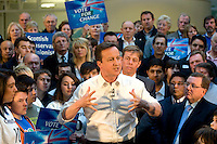 David Cameron during a rally at Linn Products with Richard Cook the Local Conservative standing in Scotland for the Scottish Conservative Party - General Election 2010..4 May 2010 Picture: Maurice McDonald/Universal News And Sport (Europe)...