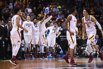 MILWAUKEE, WI - MARCH 16: The Minnesota Gophers bench celebrates during the second half of the 2017 NCAA Men's Basketball Tournament held at BMO Harris Bradley Center on March 16, 2017 in Milwaukee, Wisconsin. (Photo by Jamie Schwaberow/NCAA Photos via Getty Images)