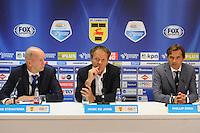 VOETBAL: LEEUWARDEN: 12-09-2015, SC Cambuur - PSV, uitslag 0-6, Perschef Jan Straatsma, trainers/coaches Henk de Jong (Cambuur) en Phillip Cocu (PSV), ©foto Martin de Jong