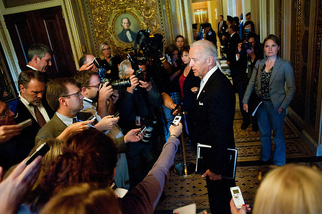 Vice President JOE BIDEN speaks to the press after meeting with the bipartisan group of lawmakers from each of the four caucuses over deficit talks at the Capitol on Tuesday.