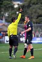 Ben Harris is yellow carded during the Oceania Football Championship final (second leg) football match between Team Wellington and Auckland City FC at David Farrington Park in Wellington, New Zealand on Sunday, 7 May 2017. Photo: Dave Lintott / lintottphoto.co.nz