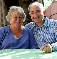 Portrait of Sam and Jeannie Chesterton, the owners of finca Buenvino, a family run hotel and cookery school in Andalucia, Spain