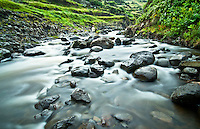 A fly fisherman can be seen in the distance in this small river of Flores ilsand at the Azores