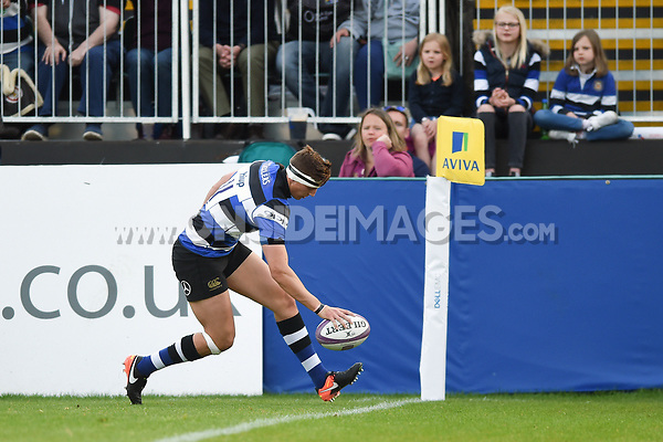 Darren Atkins of Bath United scores a first half try. Remembrance Rugby match, between Bath United and the UK Armed Forces on May 10, 2017 at the Recreation Ground in Bath, England. Photo by: Patrick Khachfe / Onside Images