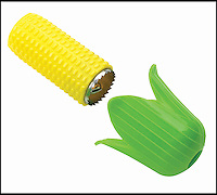 BNPS.co.uk (01202 558833)<br /> Picture: CornTwister<br /> <br /> A new gadget has been invented to solve the messy and laborious task of eating corn on the cob -- The 'Corn Twister' has been made to look like a cob of corn itself, with a green leaf-shaped holder and yellow body concealing a circular blade. To operate the device, a user simply has to place it over a cob and twist it until all individual kernels have fallen into a bowl underneath. Experienced users can expect to remove all the kernels in under 30-seconds.