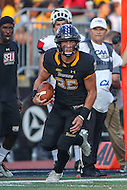 Towson, MD - September 9, 2016: Towson Tigers wide receiver Christian Summers (25) runs after the catch during game between Towson and St. Francis at  Minnegan Field at Johnny Unitas Stadium  in Towson, MD. September 9, 2016.  (Photo by Elliott Brown/Media Images International)