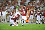 Alabama kicker Jeremy Shelley (5) kicks a field goal against Ole Miss at Bryant-Denny Stadium in Tuscaloosa, Ala. on Saturday, September 29, 2012.