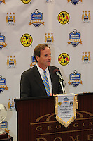 Robin Loudermilk, President and CEO of Aaron's, the event's title sponsor, speaks to the assembled media. The press conference for the 2010 Atlanta International Soccer Challenge was held, Tuesday, July 27, at the Georgia Dome, a day in advance of the match between Club America and Manchester City.