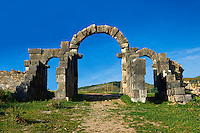The Roman Tingis Gate looking from the south. Volubilis Archaeological Site, near Meknes, Morocco