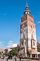 The Town Hall Tower overlooks one corner of the main market square in Krakow, Poland