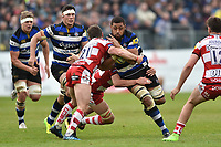 Taulupe Faletau of Bath Rugby takes on the Gloucester Rugby defence. Aviva Premiership match, between Bath Rugby and Gloucester Rugby on April 30, 2017 at the Recreation Ground in Bath, England. Photo by: Patrick Khachfe / Onside Images