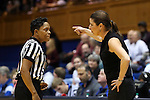11 February 2016: Duke head coach Joanne P. McCallie (right) talks to referee Rachelle Jones (left). The Duke University Blue Devils hosted the Florida State University Seminoles at Cameron Indoor Stadium in Durham, North Carolina in a 2015-16 NCAA Division I Women's Basketball game. Florida State won the game 69-53.