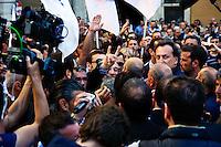 Roma 19 Aprile 2013.Proteste davanti a Montecitorio  dei partiti del centro-destra per la candidatura di Romano Prodi alla Presidenza della Repubblica da parte del Partito Democratico. Corna e Saluti Romani contro i militanti del centro-sinistra