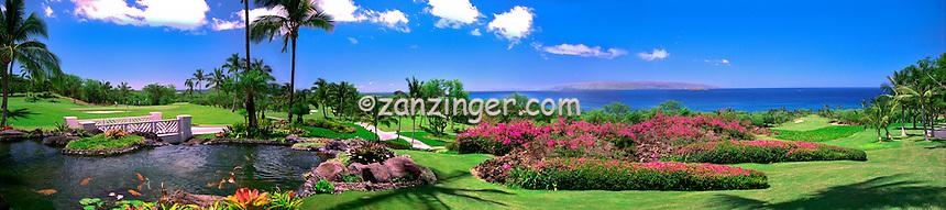 Hawaii, Wailea Gold Course Golf fairway panorama CGI Backgrounds, ,Beautiful Background