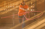 2/2/15 5:05:30 PM -- Lenoir, NC, U.S.A  -- We hang out with San Francisco Giants pitcher Madison Bumgarner at his ranch in North Carolina. Bumgarner shows off his roping skills during the filming of a commercial in one of his barns-- Photo by Jim Dedmon, USA TODAY  Sports Images,  ORG XMIT:  US 132520 Bumgarner 2/2/2015 [Via MerlinFTP Drop]