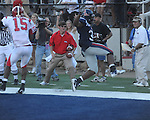 Ole Miss running back Brandon Bolden (34) scores in double overtime at Vaught-Hemingway Stadium in Oxford, Miss. on Saturday, September 4, 2010. Jacksonville State won 49-48 in double overtime.