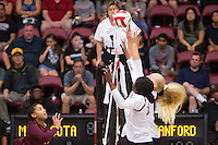 STANFORD, CA - August 28, 2016: Inky Ajanaku, Kathryn Plummer at Maples Pavilion. The Stanford Cardinal defeated the University of Minnesota 3-1.
