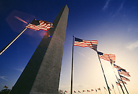 Flags surrounding the Washington Monument.