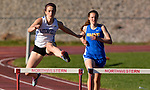 WINSTED, CT-041817JS06- Litchfield's Molly Andrulis defeated Gilbert's Arlene Blackwell in the 300M hurdles during their meet with Lewis Mills Tuesday at Northwest Regional High School in Winsted. <br /> Jim Shannon Republican-American