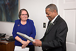 Ohio University President Roderick McDavis is presented the honorary Outstanding Administrator Award by Eileen Theodore-Shusta, Director of Planning, Assessment and Organizational Effectivenss, on behalf of the Ohio University Administrative Senate on Tuesday, February 7, 2017.