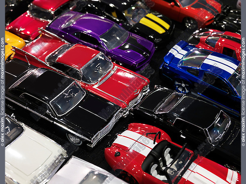 Diecast toy car models, classic and sports cars