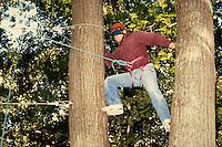 High ropes course, horz. MA USA.