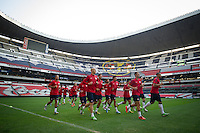 Mexico City, Mexico - Monday, March 25, 2013: USA Training at Estadio Azteca in preparation for their match with Mexico.