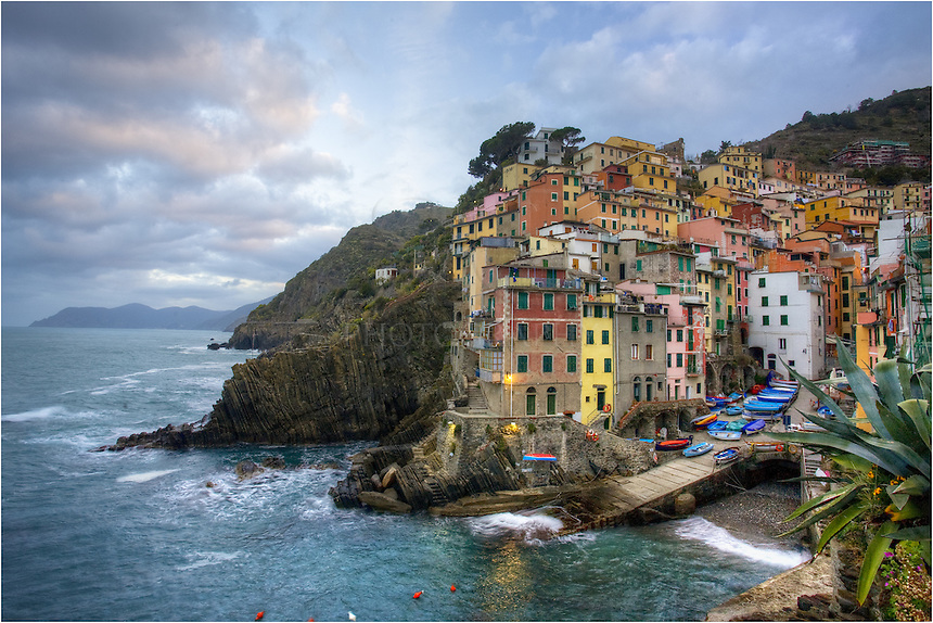 Early morning in the Cinque Terre - the village of Riomaggiore. Some of the lights are still on. Our place was the second yellow building from the left - second floor. From this location, we always had great views of the harbor and easy access to the local milk trains that could transport you to the other villages of the Cinque Terre in just minutes.