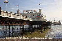 Union Jack flags on Brighton Pier, England, United Kingdom
