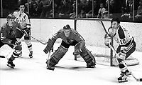 Seals vs Blackhawks..1970..Billy Hicke, and Ted Hampson, battle Hawks #3Keith Magnuson, and goalie Ken Brown. (photo/Ron Riesterer)