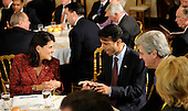 Governor Bobby Jindal (Republican of Louisiana), center, talks with, from left, Governor Nikki Haley (Republican of South Carolina), Governor Phil Bryant (Republican of Mississippi), and Governer Jan Brewer (Republican of Arizona) during the National Governors Association meeting in the White House State Dining Room, on Monday, February 27, 2012, in Washington, DC. .Credit: Leslie E. Kossoff / Pool via CNP