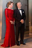 Le roi Philippe de Belgique et la reine Mathilde de Belgique en visite d'Etat au Danemark, lors de la soir&eacute;e &quot; The Black Diamond &quot;, en pr&eacute;sence du Prince Joachim de Danemark  la princesse Marie de Danemark, la princesse Mary de Danemark, le Prince Frederik de Danemark et la reine Margrethe II de Danemark.<br /> Danemark, Copenhague, 30 mars 2017.<br /> King Philippe of Belgium &amp; Queen Mathilde of Belgium during a State Visit to Copenhagen in Denmark are attending The Black Diamond event, with Crown Prince Joachim of Denmark,  Princess Marie of Denmark, princess Mary of Denmark, Prince Frederik of Denmark and Queen Margrethe II of Denmark.<br /> Denmark, Copenhagen, March 30, 2017.<br /> Pic : King Philippe of Belgium &amp; Queen Mathilde of Belgium