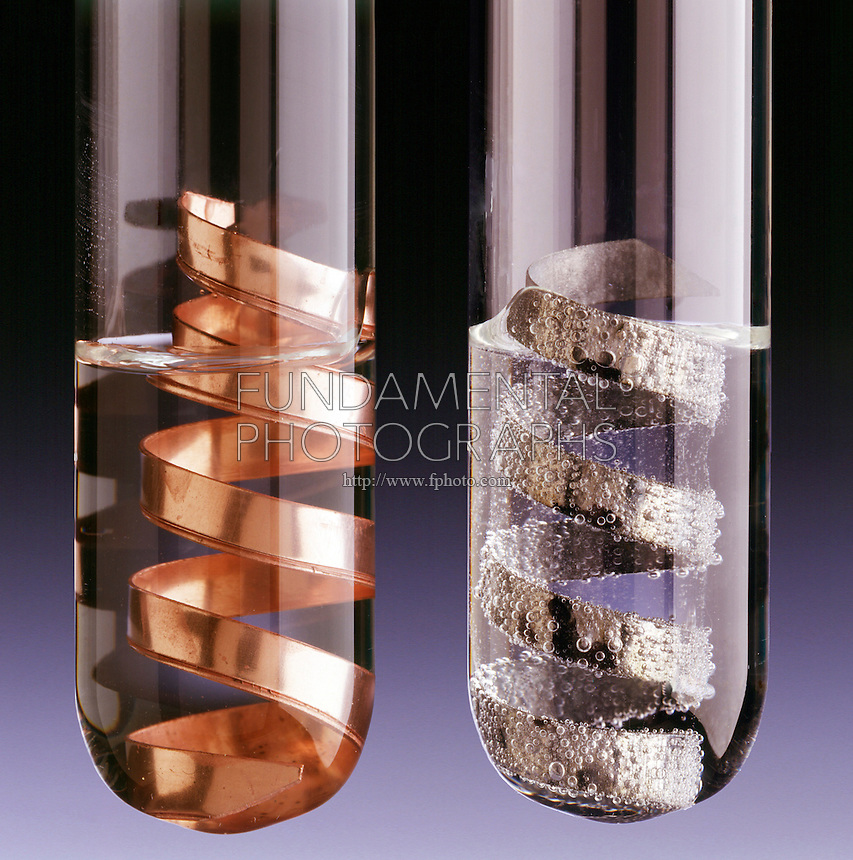COMPARISON OF COPPER &amp; ZINC IN HYDROCHLORIC ACID<br /> Copper Doesn't React; Zinc Does<br /> Coils of copper &amp; Zinc are placed in test tubes containing 0.5M  HCl(aq). Zn(s) in 0.5M HCl(aq). Zinc reacts with HCl to form ZnCl2 &amp; H2(g). Zn(s) + 2H+(aq) = Zn2+(aq) + H2(g): Zinc is oxidized -loses electrons. Hydrogen is reduced -gains electrons.
