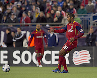 Real Salt Lake defender Rauwshan McKenzie (30) passes the ball. In a Major League Soccer (MLS) match, Real Salt Lake defeated the New England Revolution, 2-0, at Gillette Stadium on April 9, 2011.