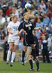 3 December 2006: North Carolina's Ali Hawkins (76) and Notre Dame's Amanda Cinalli (5) challenge for a header. The University of North Carolina Tarheels defeated the University of Notre Dame Fighting Irish 2-1 at SAS Stadium in Cary, North Carolina in the NCAA Division I Women's College Cup championship game.
