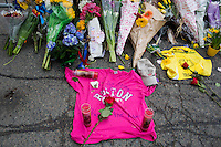People left flowers and other remembrances on Boylston Street near the site of the bombings in Boston, Mass., on April 16, 2013, the day after bombings at the Boston Marathon.