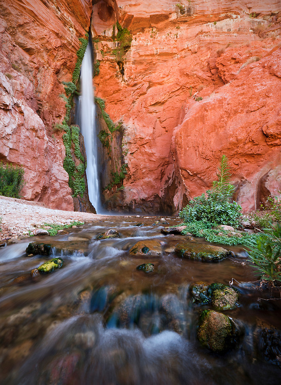 Deer Creek Falls plunges over 150 feet within the Grand Canyon, Grand Canyon National Park, Arizona, USA