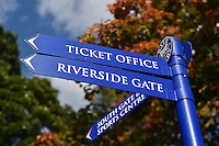 A general view of a Bath Rugby sign post. West Country Challenge Cup match, between Bath Rugby and Gloucester Rugby on September 26, 2015 at the Recreation Ground in Bath, England. Photo by: Patrick Khachfe / Onside Images