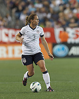 USWNT defender Christie Rampone (3) looks to pass. In an international friendly, the U.S. Women's National Team (USWNT) (white/blue) defeated Korea Republic (South Korea) (red/blue), 4-1, at Gillette Stadium on June 15, 2013.