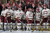 Members of the current Boston College Eagles as well as those from past BC national champions watch the video boards. - The Boston College Eagles defeated the visiting Merrimack College Warriors 3-2 on Friday, October 29, 2010, at Conte Forum in Chestnut Hill, Massachusetts.