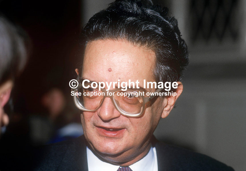 Grigoris Varfis, Greek EEC Commissioner, photographed on visit to N Ireland, February, 1986, 19860204GV1<br /> <br /> Copyright Image from Victor Patterson, 54 Dorchester Park, <br /> Belfast, UK, BT9 6RJ<br /> <br /> t1: +44 28 9066 1296 (from Rep of Ireland 048 9066 1296)<br /> t2: +44 28 9002 2446 (from Rep of Ireland 048 9002 2446)<br /> m: +44 7802 353836<br /> <br /> e1: victorpatterson@me.com<br /> e2: victorpatterson@gmail.com<br /> <br /> www.victorpatterson.com<br /> <br /> Please see my Terms and Conditions of Use at VICTORPATTERSON.COM. It is IMPORTANT that you familiarise yourself with them.<br /> <br /> Images used on the Internet must be visibly watermarked i.e. &copy;VICTORPATTERSON.COM within the body of the image and copyright metadata must not be deleted. Images used on the Internet have a size restriction of 4kbs and are chargeable at the then current NUJ rates.<br /> <br /> This image is only available for the use of the download recipient i.e. television station, newspaper, magazine, book publisher, etc, and must not be passed on to any third party. It is also downloaded on condition that each and every usage is notified within 7 days to victorpatterson@me.com<br /> <br /> The right of Victor Patterson to be identified as the author is asserted in accordance with The Copyright Designs And Patents Act (1988).