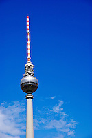 The Fernsehturm Television tower in Berlin Germany offers view of the capital city of Germany. The Fernsehturm is a Television tower in Berlin.