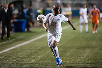 HEMPSTEAD, NY – OCTOBER 12: Marcos Senna of he New York Cosmos against the Carolina RailHawks during an NASL match on October 12, 2013 at  Shuart Stadium in Hempstead, New York.