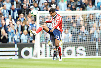 Joaquin Velazquez (23) defender Chivas USA clears the ball..Sporting Kansas City defeated Chivas USA 4-0 at Sporting Park, Kansas City, Kansas.